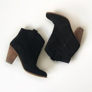 Nine West black suede western pull on booties